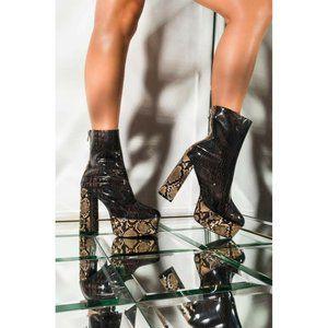 Azalea Wang Dreamer Block Platform Snake Boots*